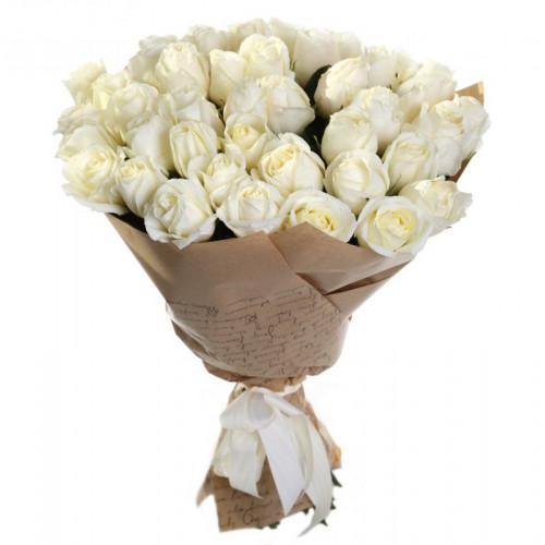 Купить на заказ Букет из 35 белых роз с доставкой в Байконуре