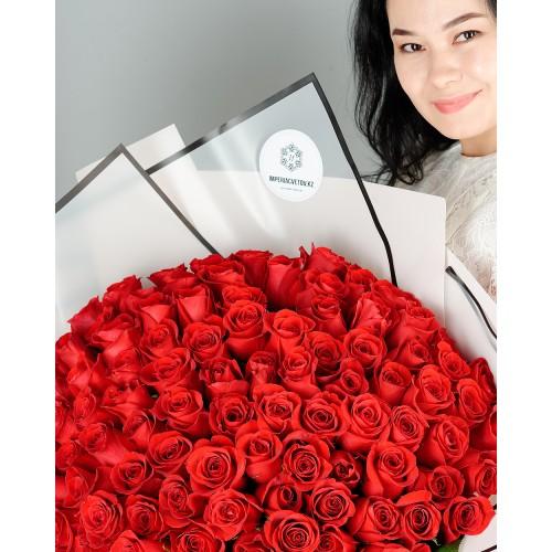 Купить на заказ Букет из 101 красной розы с доставкой в Байконуре