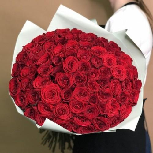 Купить на заказ Букет из 75 красных роз с доставкой в Байконуре
