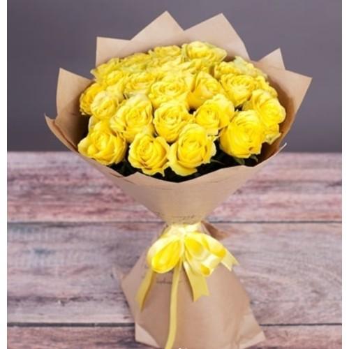 Купить на заказ Букет из желтых роз с доставкой в Байконуре