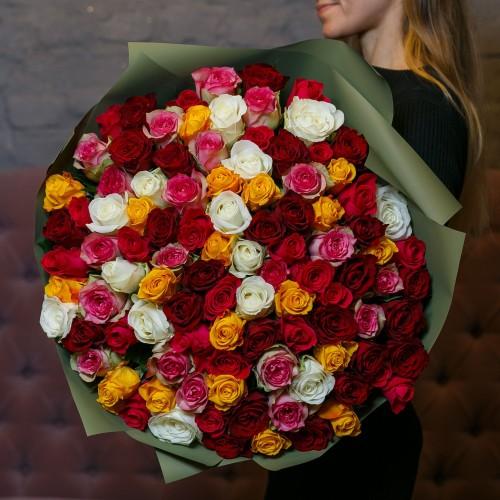 Купить на заказ Букет из 101 розы (микс) с доставкой в Байконуре